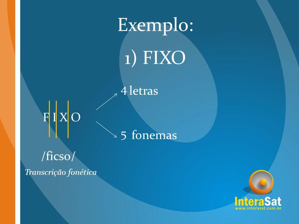 Exemplo: 1) FIXO 4 letras F I X O 5 fonemas /ficso/