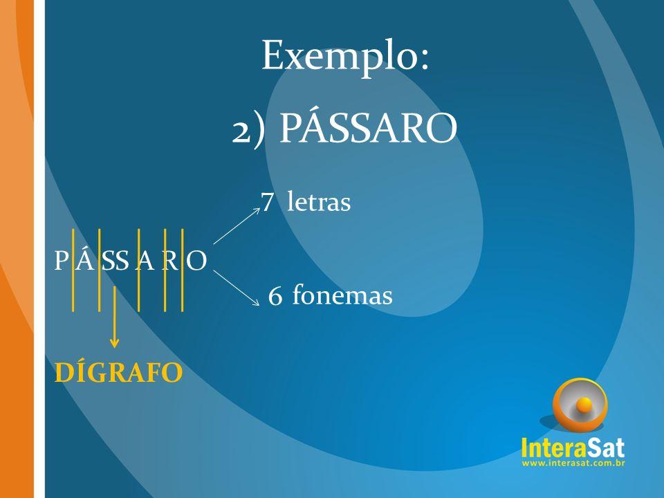 Exemplo: 2) PÁSSARO 7 6 letras P Á SS A R O fonemas DÍGRAFO