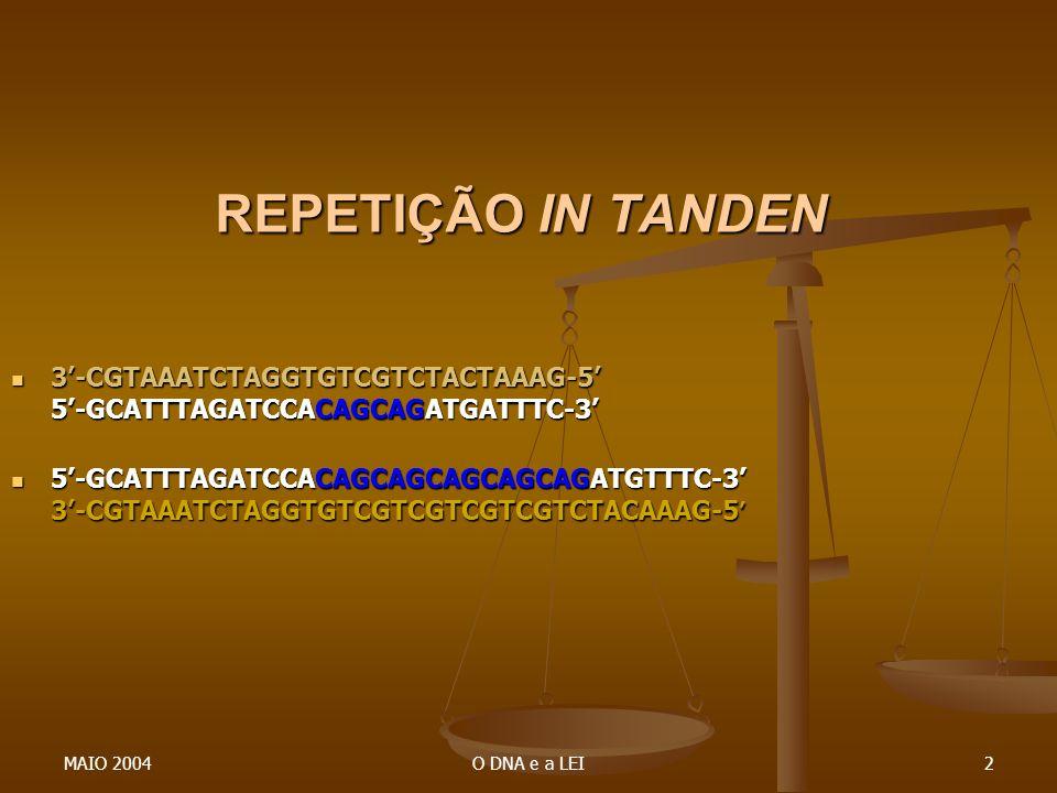 REPETIÇÃO IN TANDEN 3'-CGTAAATCTAGGTGTCGTCTACTAAAG-5' 5'-GCATTTAGATCCACAGCAGATGATTTC-3'