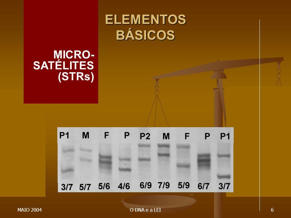 ELEMENTOS BÁSICOS MICRO- SATÉLITES (STRs) MAIO 2004 O DNA e a LEI