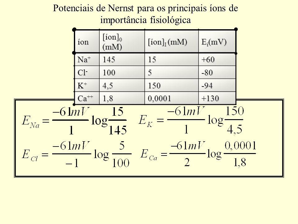 Potenciais de Nernst para os principais íons de importância fisiológica