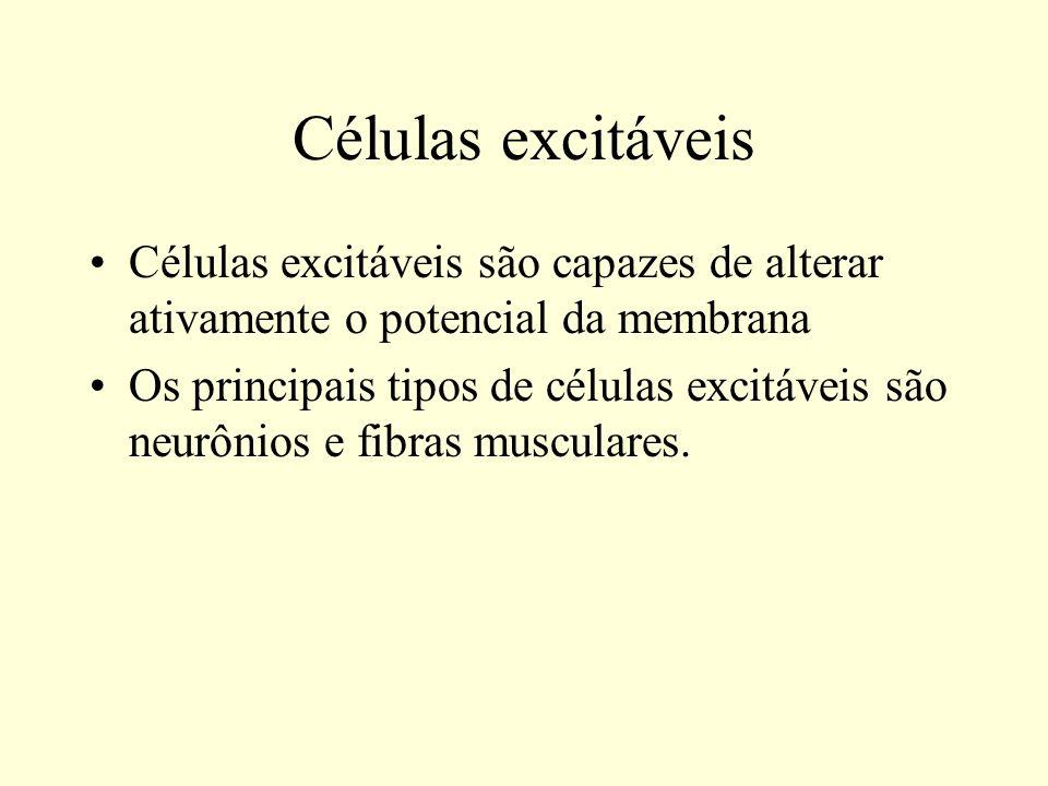 Células excitáveis Células excitáveis são capazes de alterar ativamente o potencial da membrana.