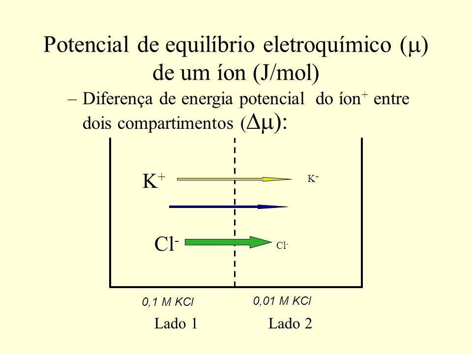 Potencial de equilíbrio eletroquímico (m) de um íon (J/mol)