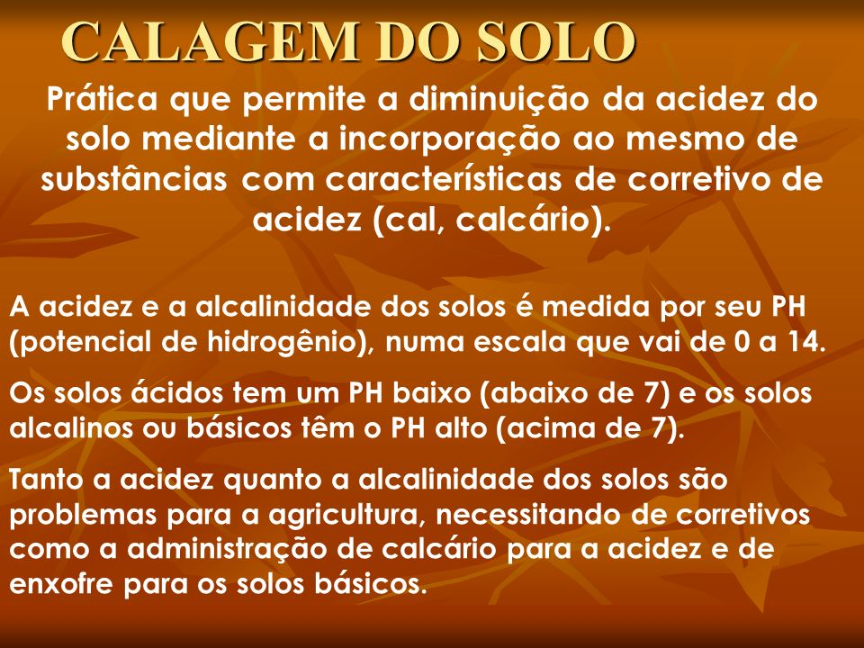 CALAGEM DO SOLO