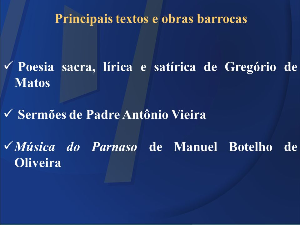 Principais textos e obras barrocas