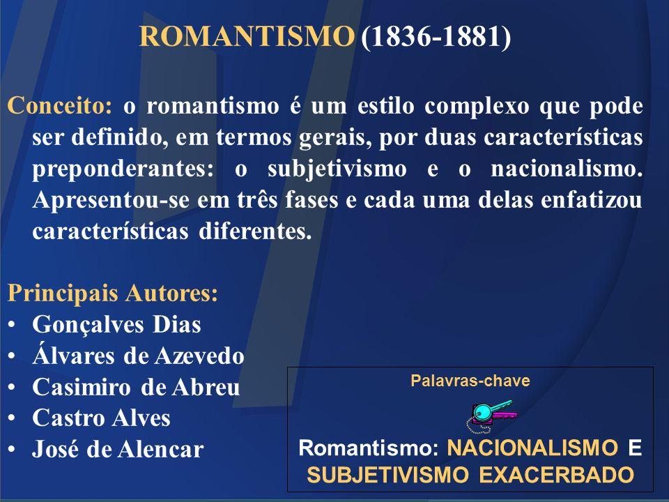 Romantismo: NACIONALISMO E SUBJETIVISMO EXACERBADO