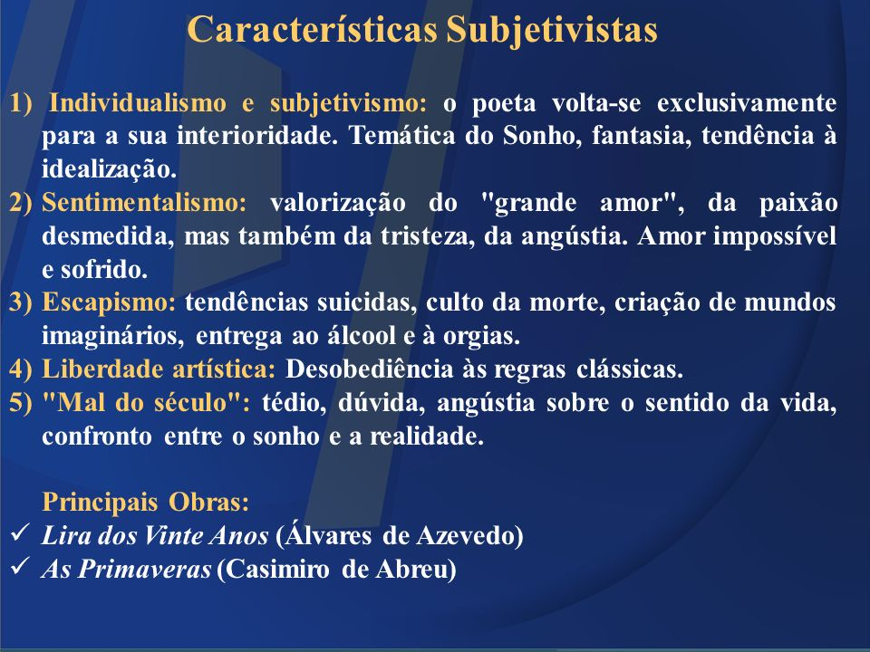 Características Subjetivistas