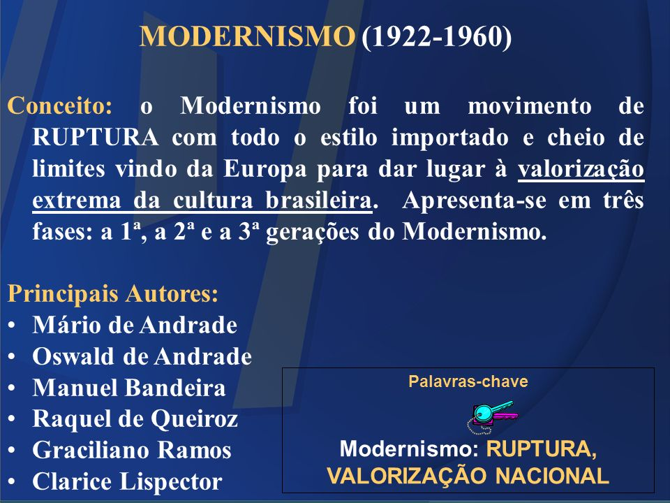 Modernismo: RUPTURA, VALORIZAÇÃO NACIONAL