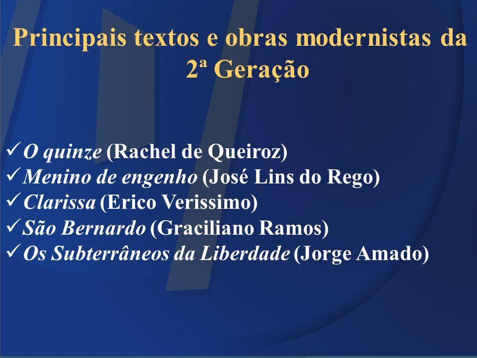 Principais textos e obras modernistas da 2ª Geração