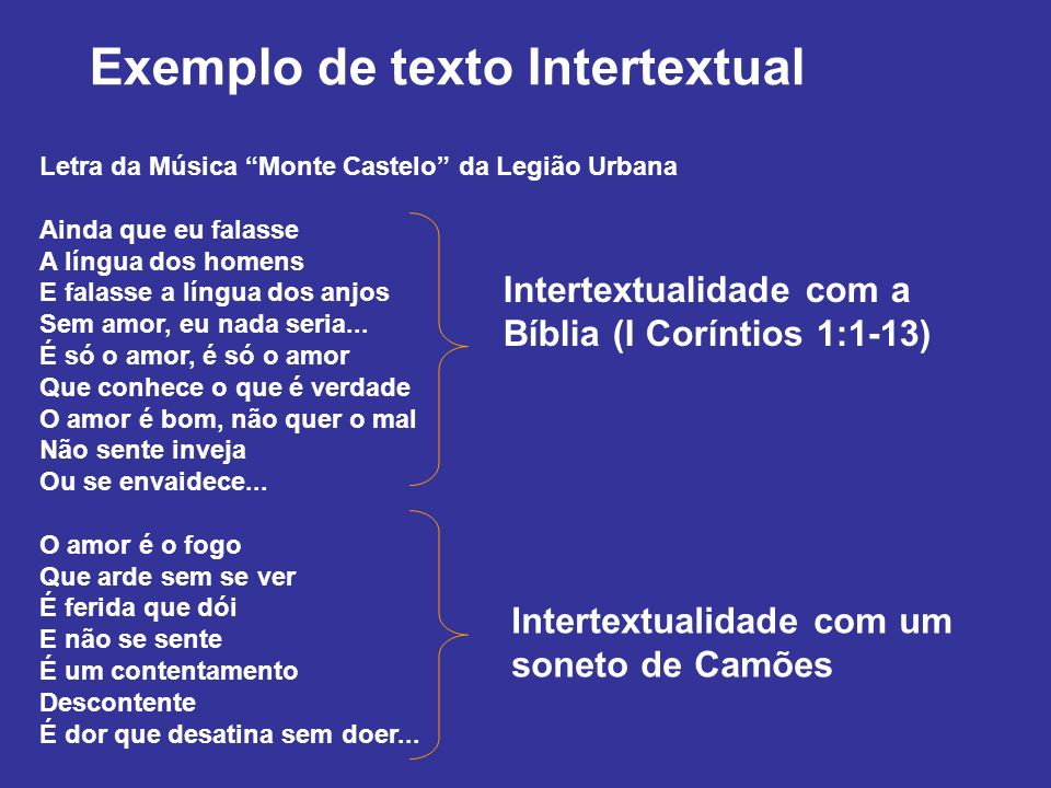Exemplo de texto Intertextual