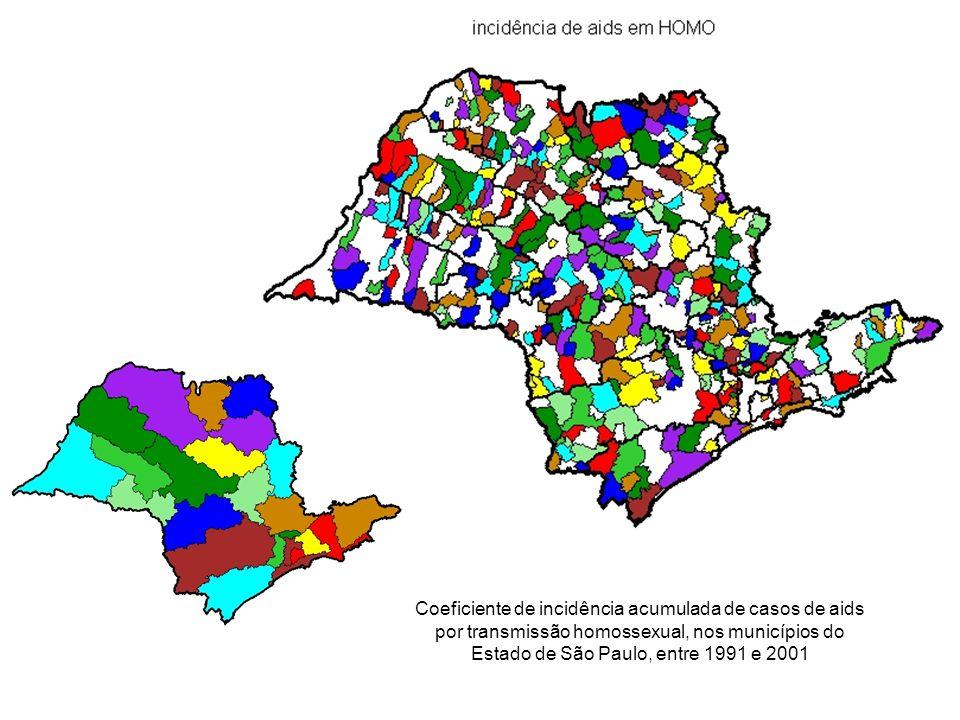 Coeficiente de incidência acumulada de casos de aids por transmissão homossexual, nos municípios do Estado de São Paulo, entre 1991 e 2001
