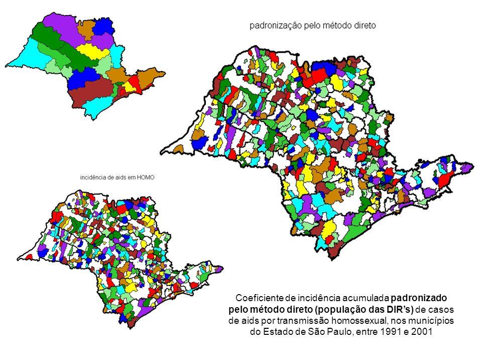 Coeficiente de incidência acumulada padronizado pelo método direto (população das DIR's) de casos de aids por transmissão homossexual, nos municípios do Estado de São Paulo, entre 1991 e 2001