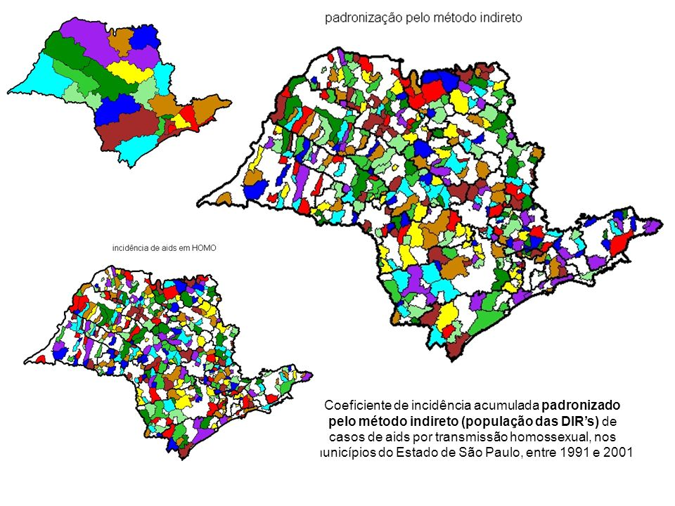 Coeficiente de incidência acumulada padronizado pelo método indireto (população das DIR's) de casos de aids por transmissão homossexual, nos municípios do Estado de São Paulo, entre 1991 e 2001
