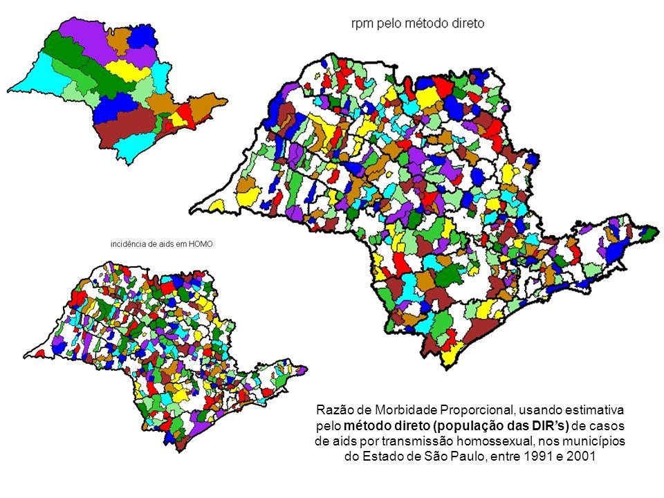 Razão de Morbidade Proporcional, usando estimativa pelo método direto (população das DIR's) de casos de aids por transmissão homossexual, nos municípios do Estado de São Paulo, entre 1991 e 2001