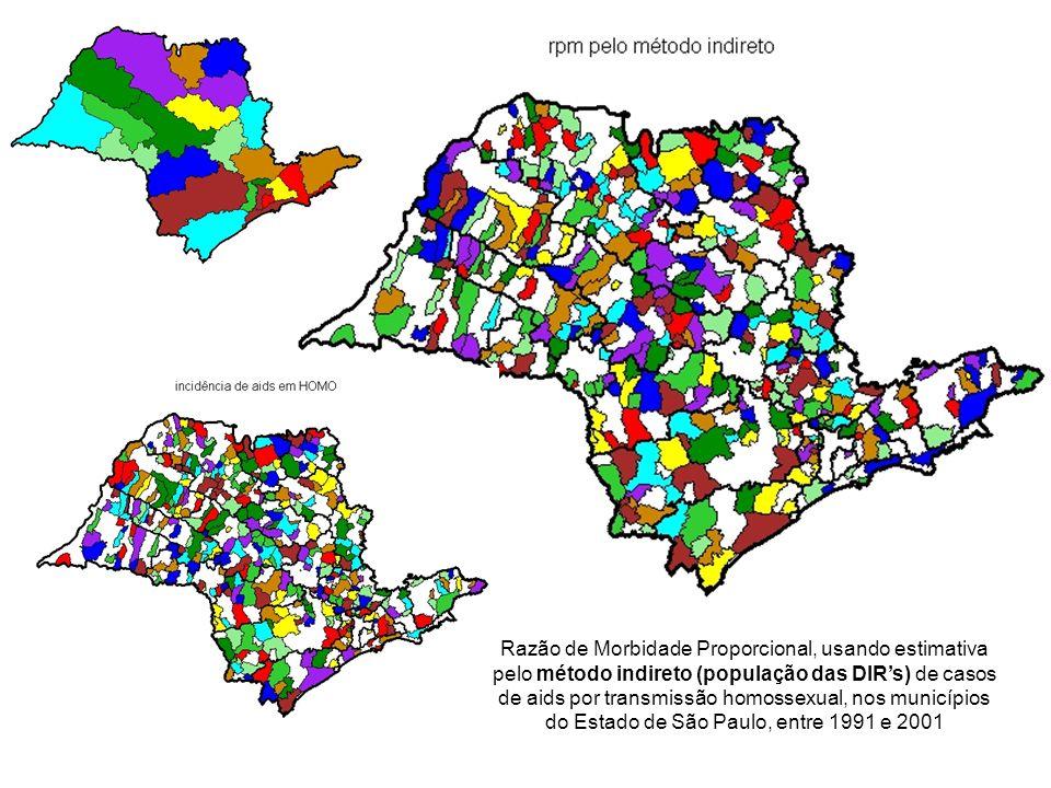 Razão de Morbidade Proporcional, usando estimativa pelo método indireto (população das DIR's) de casos de aids por transmissão homossexual, nos municípios do Estado de São Paulo, entre 1991 e 2001