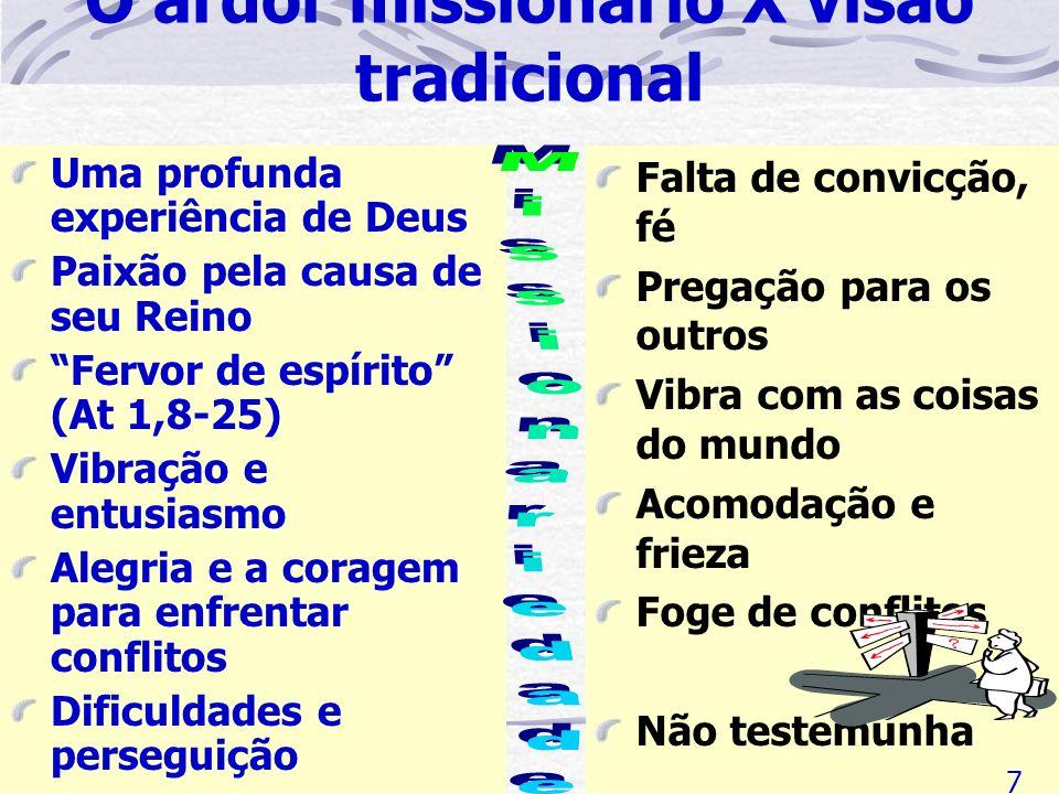 O ardor missionário X visão tradicional