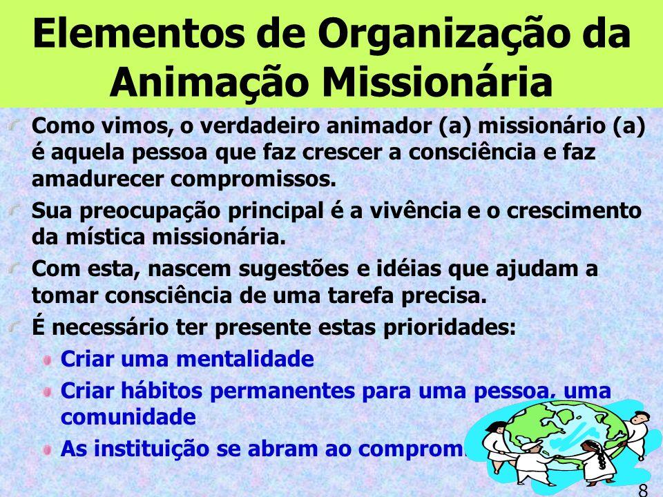 Elementos de Organização da Animação Missionária