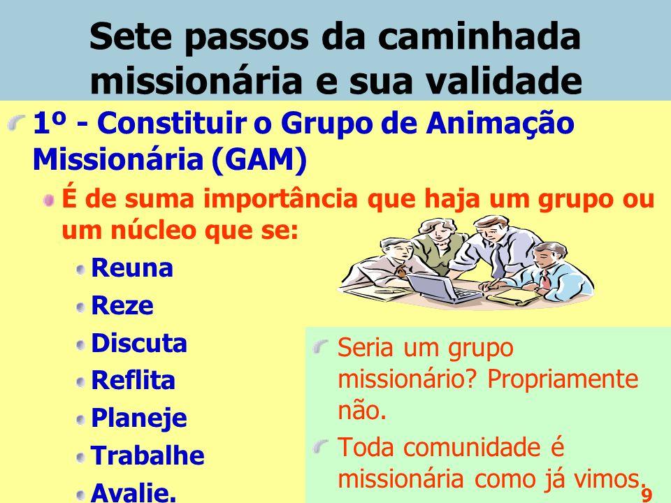 Sete passos da caminhada missionária e sua validade