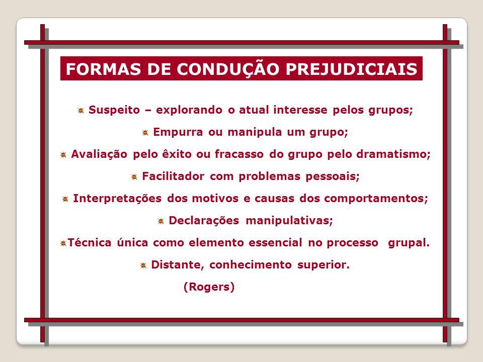 FORMAS DE CONDUÇÃO PREJUDICIAIS