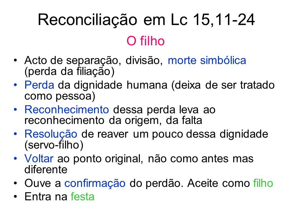 Reconciliação em Lc 15,11-24 O filho