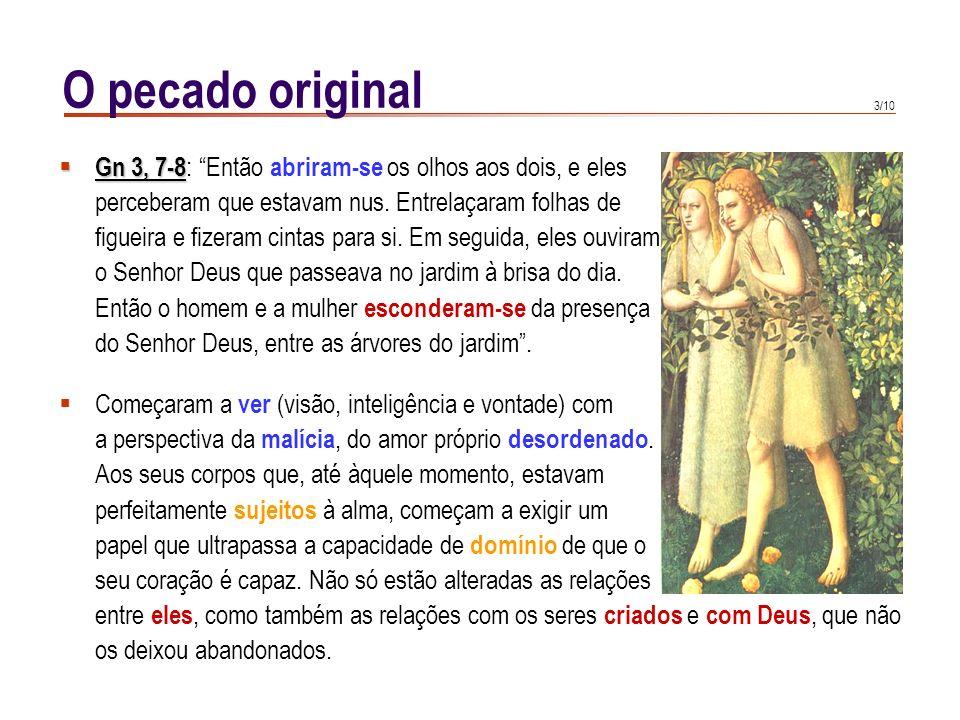O pecado originalGn 3, 7-8: Então abriram-se os olhos aos dois, e eles. perceberam que estavam nus. Entrelaçaram folhas de.