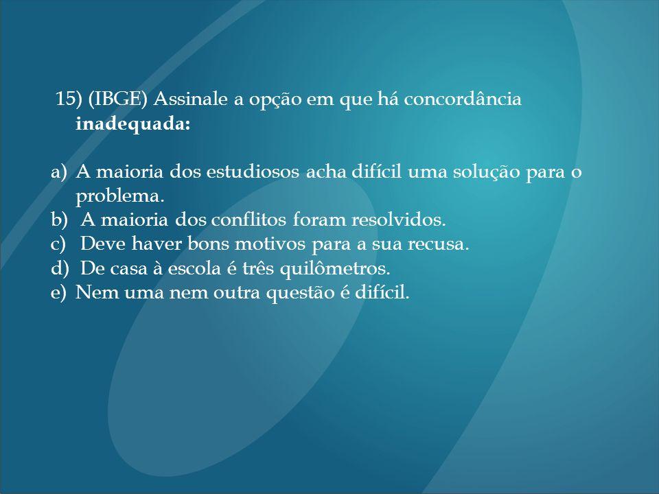 15) (IBGE) Assinale a opção em que há concordância inadequada: