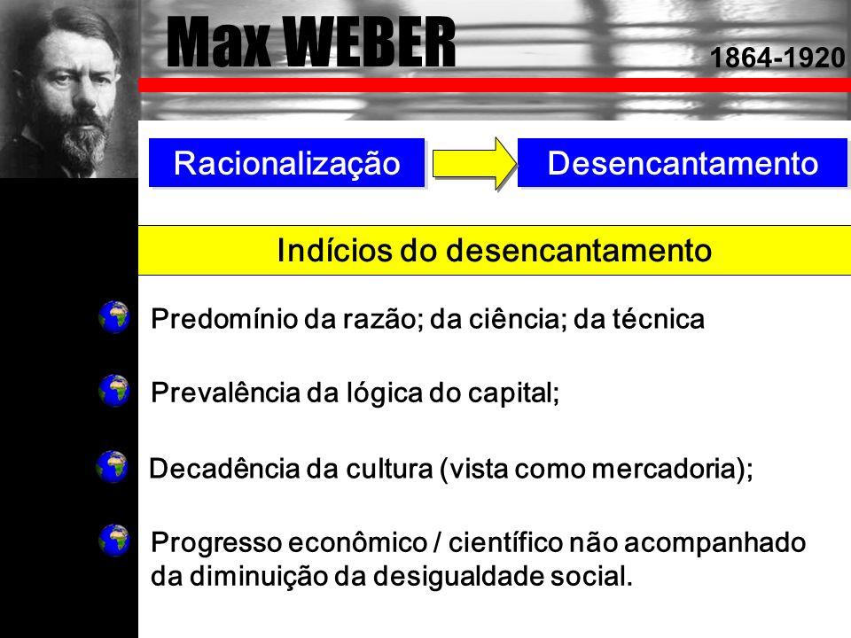 Max WEBER Racionalização Desencantamento Indícios do desencantamento