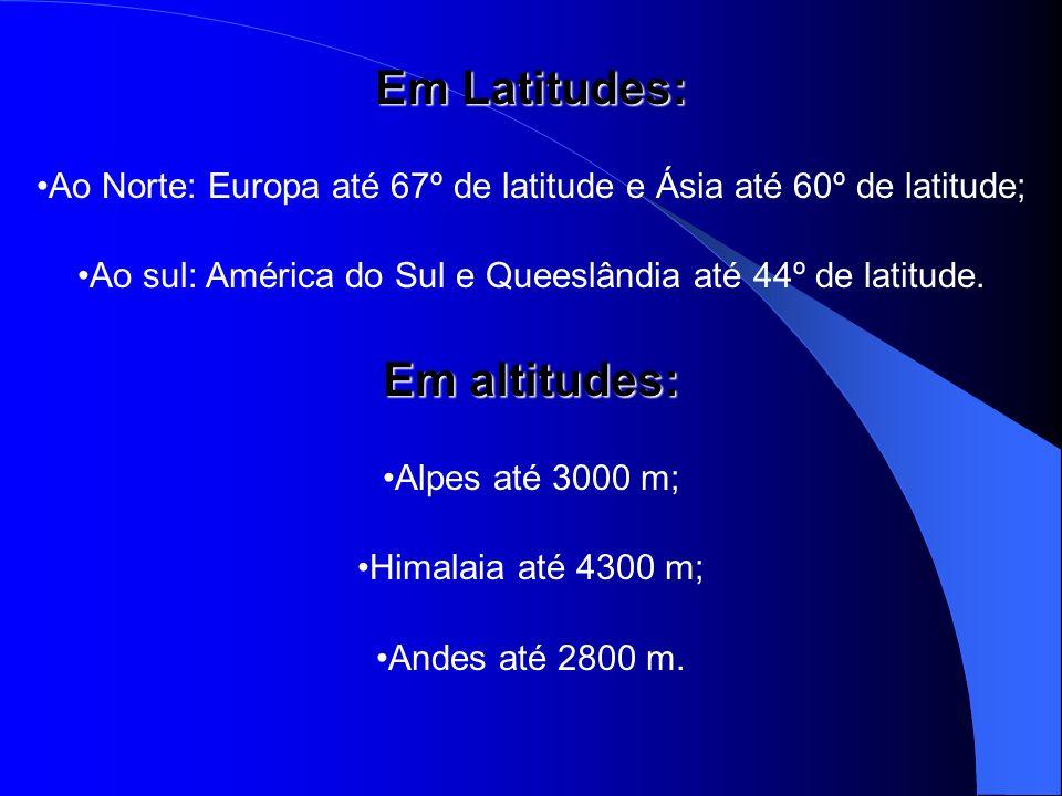 Em Latitudes: Em altitudes:
