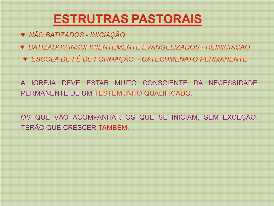 ESTRUTRAS PASTORAIS ♥ NÃO BATIZADOS - INICIAÇÃO