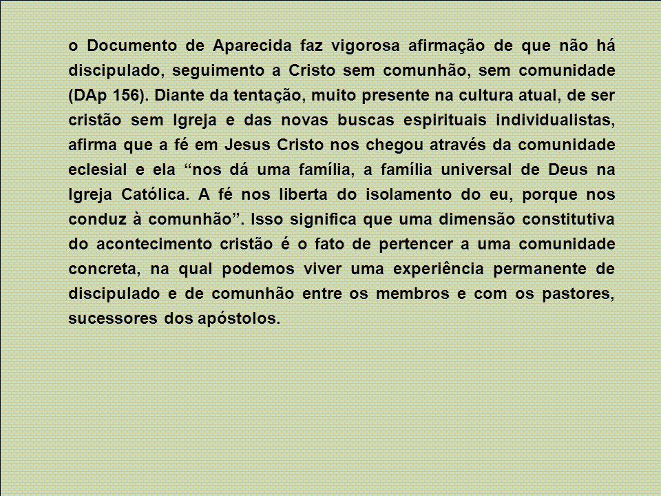 o Documento de Aparecida faz vigorosa afirmação de que não há discipulado, seguimento a Cristo sem comunhão, sem comunidade (DAp 156).