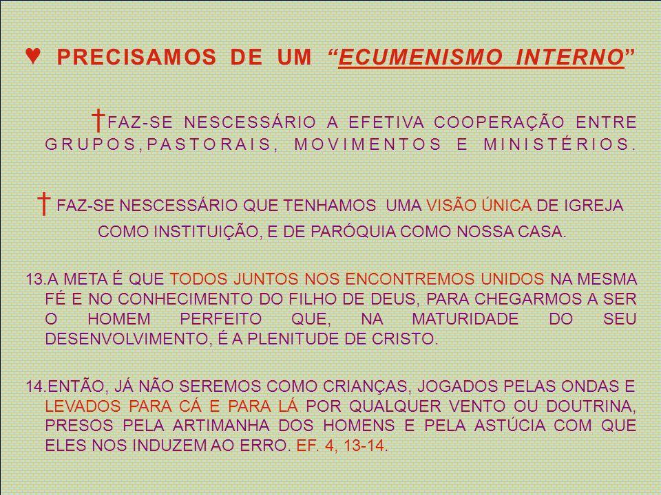 ♥ PRECISAMOS DE UM ECUMENISMO INTERNO