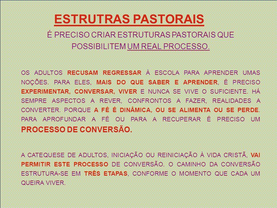 ESTRUTRAS PASTORAIS É PRECISO CRIAR ESTRUTURAS PASTORAIS QUE POSSIBILITEM UM REAL PROCESSO.