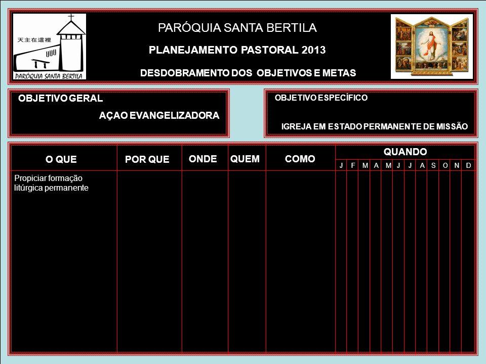 PLANEJAMENTO PASTORAL 2013 DESDOBRAMENTO DOS OBJETIVOS E METAS