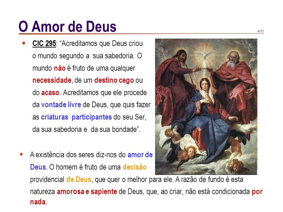 O Amor de Deus CIC 295: Acreditamos que Deus criou