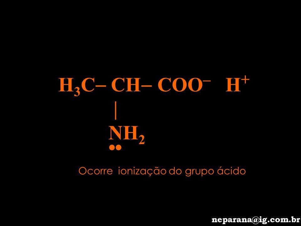 H3C CH COO– H+  NH2 •• Ocorre ionização do grupo ácido