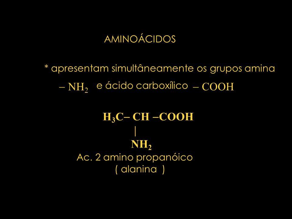  NH2  COOH H3C CH COOH  NH2 AMINOÁCIDOS