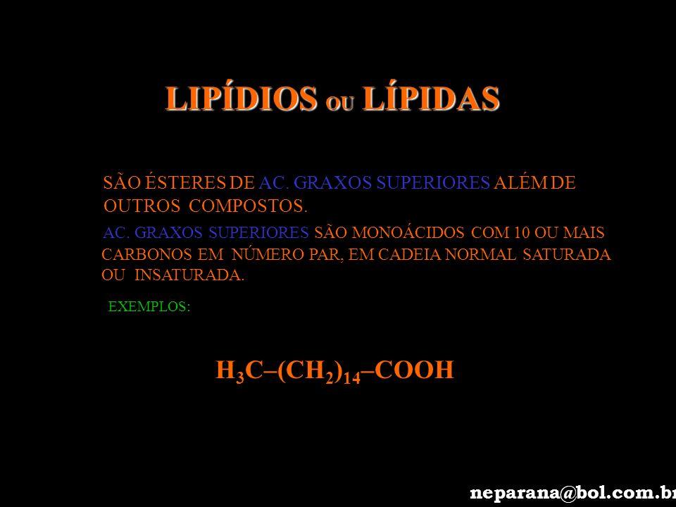 LIPÍDIOS OU LÍPIDAS H3C–(CH2)14–COOH