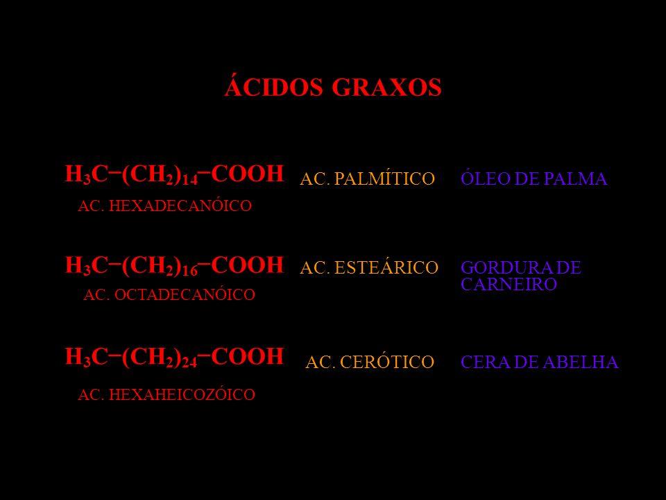 ÁCIDOS GRAXOS H C - (CH ) - COOH H C - (CH ) - COOH H C - (CH ) - COOH