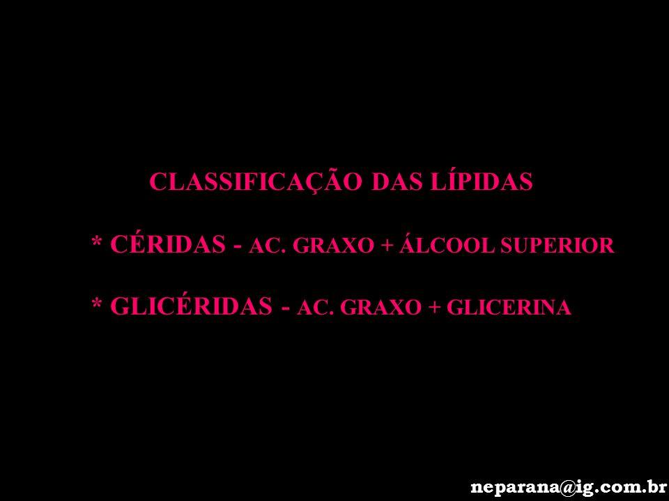 CLASSIFICAÇÃO DAS LÍPIDAS * CÉRIDAS - AC. GRAXO + ÁLCOOL SUPERIOR