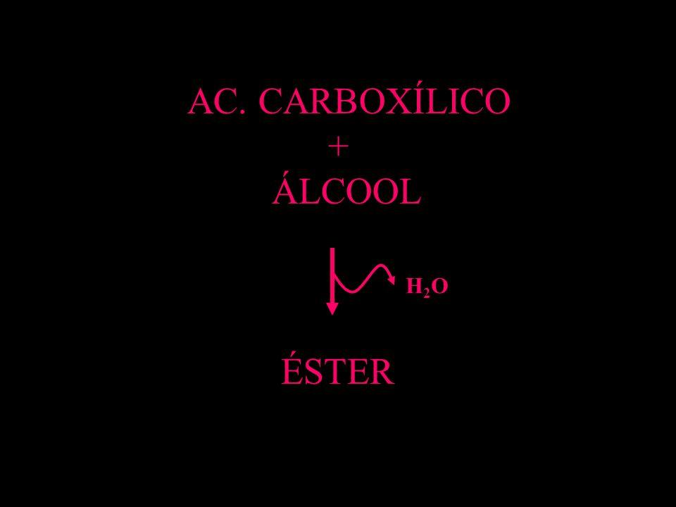 AC. CARBOXÍLICO + ÁLCOOL ÉSTER H2O