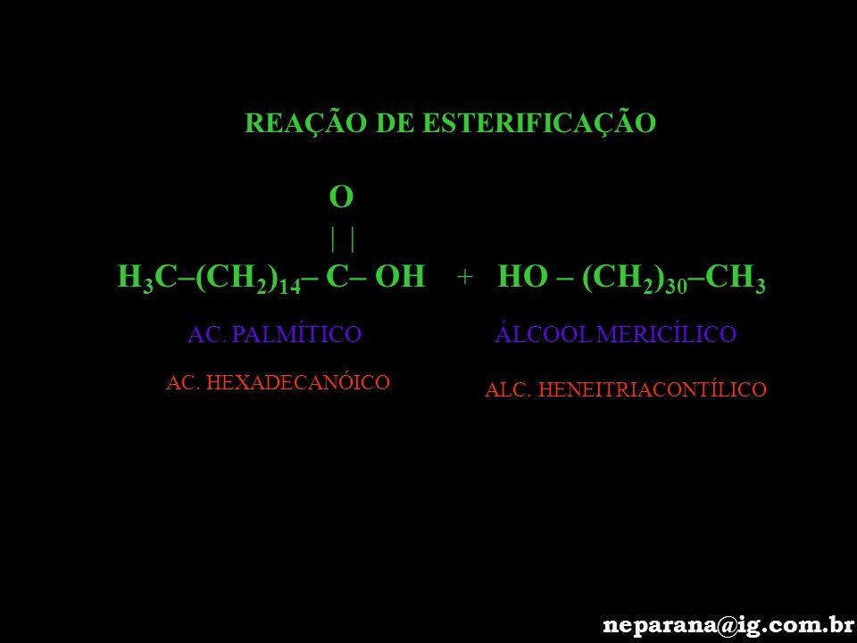 O H3C–(CH2)14– C– OH HO – (CH2)30–CH3 REAÇÃO DE ESTERIFICAÇÃO | | +