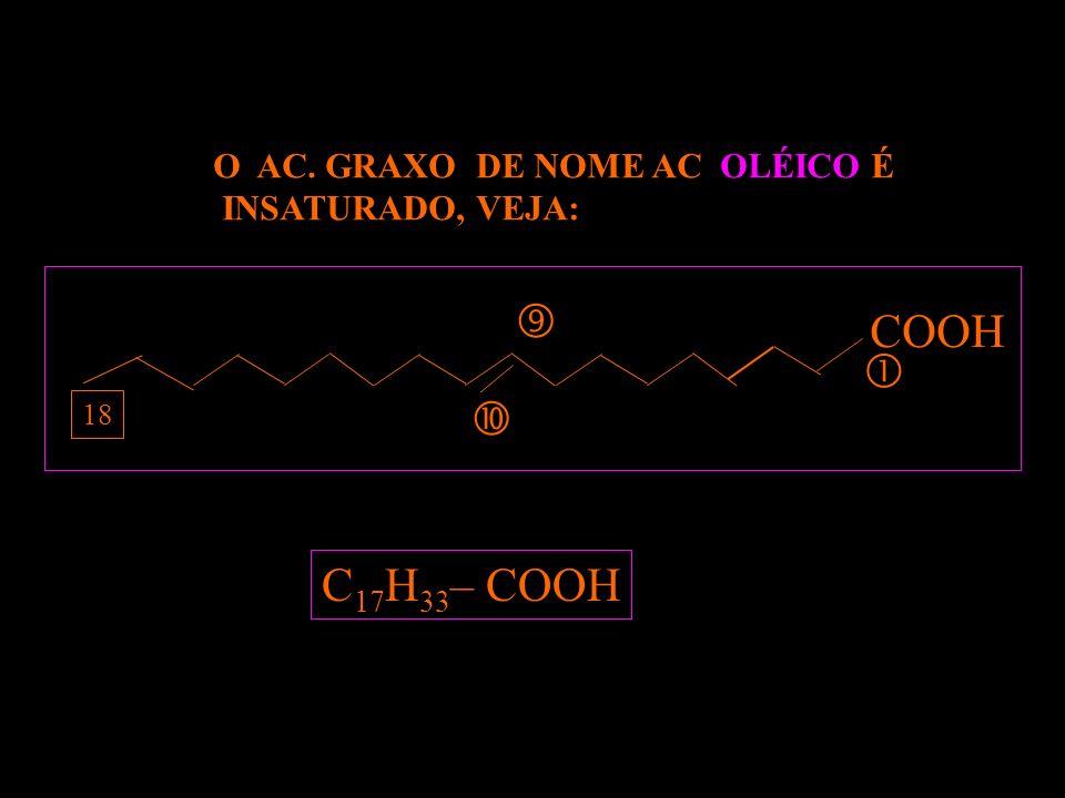  COOH   C17H33– COOH O AC. GRAXO DE NOME AC. OLÉICO É
