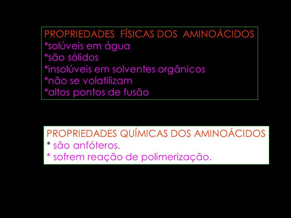 PROPRIEDADES FÍSICAS DOS AMINOÁCIDOS