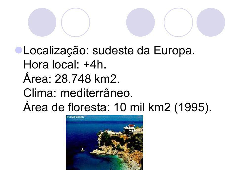 Localização: sudeste da Europa. Hora local: +4h. Área: 28. 748 km2