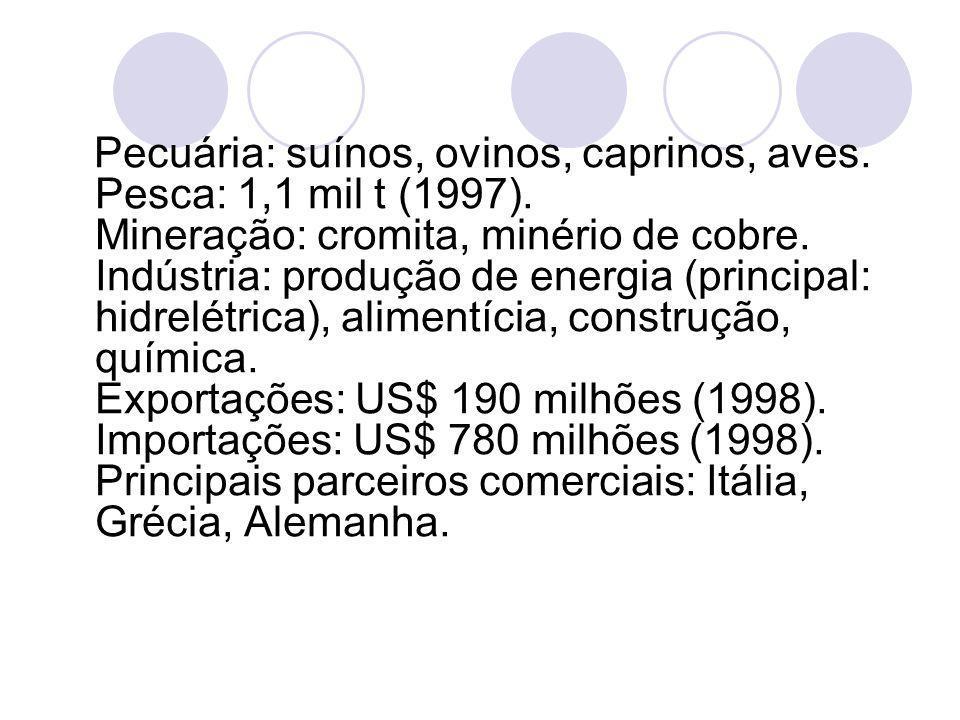 Pecuária: suínos, ovinos, caprinos, aves. Pesca: 1,1 mil t (1997)