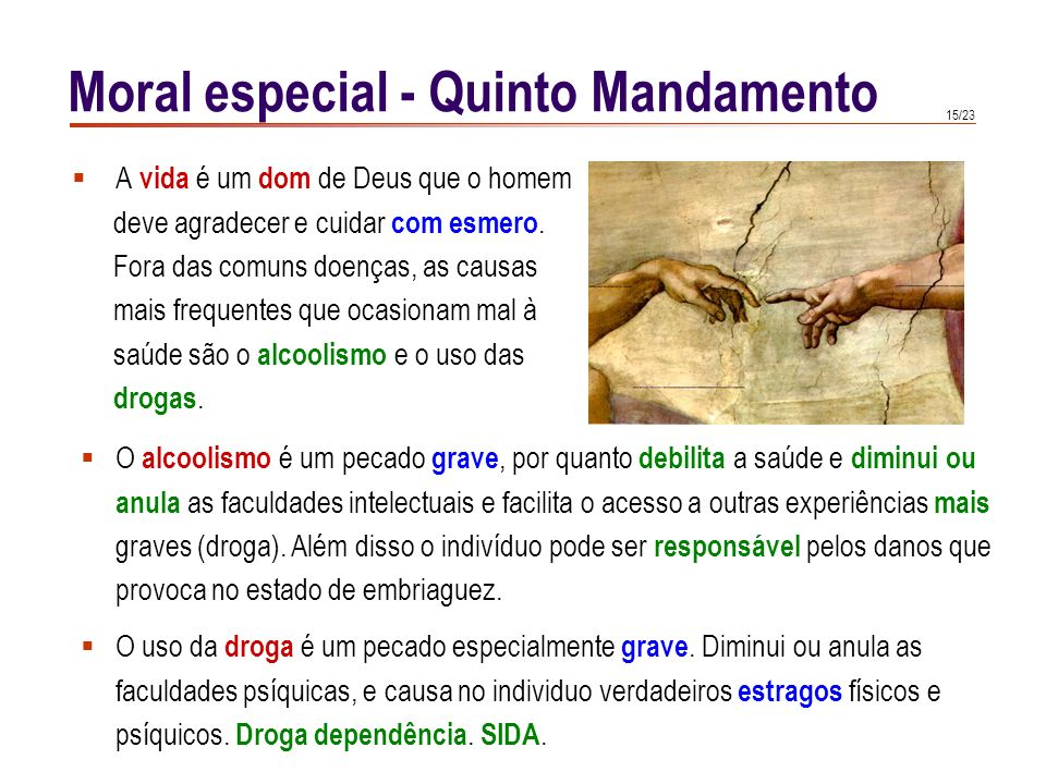 Moral especial - Quinto Mandamento