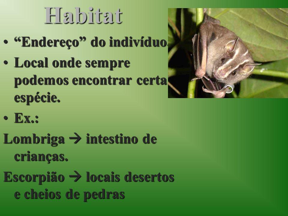 Habitat Endereço do indivíduo.