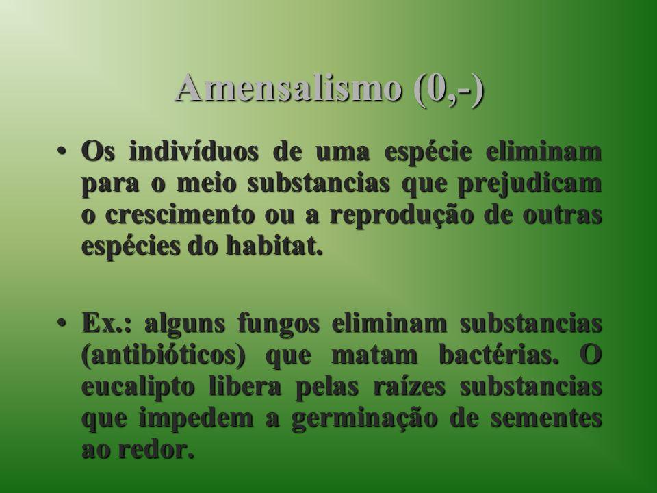 Amensalismo (0,-)