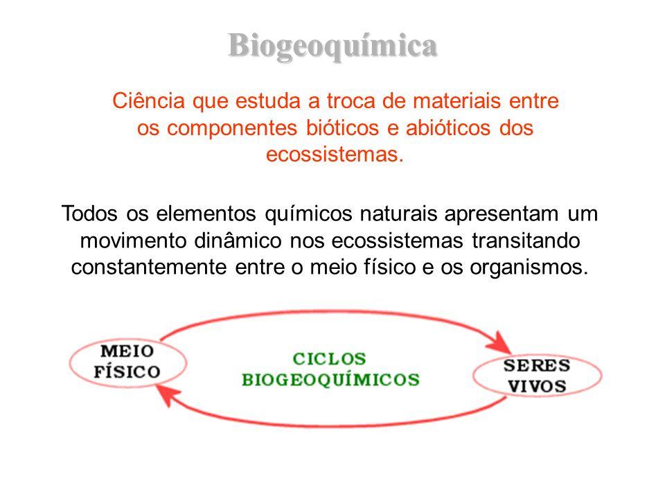 Biogeoquímica Ciência que estuda a troca de materiais entre os componentes bióticos e abióticos dos ecossistemas.