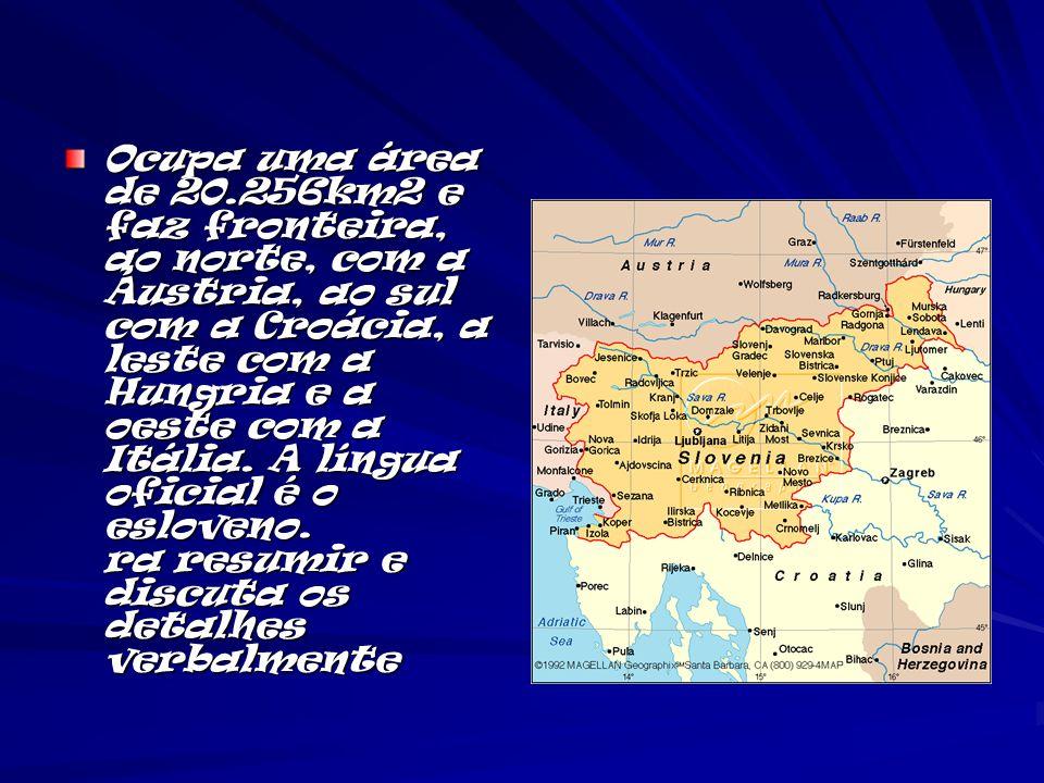 Ocupa uma área de 20.256km2 e faz fronteira, ao norte, com a Áustria, ao sul com a Croácia, a leste com a Hungria e a oeste com a Itália.